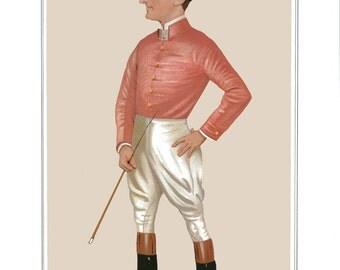 Horse Track Racing Jockey Print. Sporting Print of Horse Racing. Jockey Prints in Racing Colors. Betting and Gambling