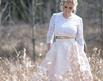 Etta - Joni Wedding Dress /// Full Blush Silk Skirt handpainted//Pockets//long sleeve Tie Back Crop