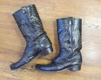 10 1/2 D /Men's 1960's Cowboy BOOTS / Black Leather Size 10 1/2 Boots / Vintage Men's Western Wear