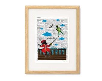 Peter Pan print-Captain Hook print-Peter Pan gift-Peter Pan book art-Nursery print-Peter Dictionary print-holiday gift-NATURA PICTA-NPDP088