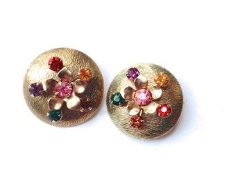 Multi Color Rhinestone Disc Earrings Multi Color Vintage Retro Fashion Jewelry