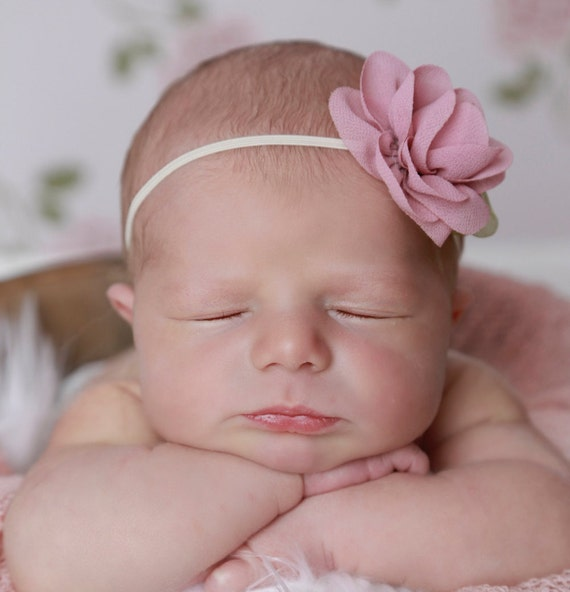 Delicate dusty rose headband, perfect vintage color for a newborn photoshoot or everyday by Lil Miss Sweet Pea