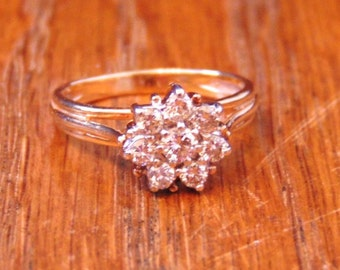 Vintage Diamond Cluster Engagement Ring in 14K Yellow Gold
