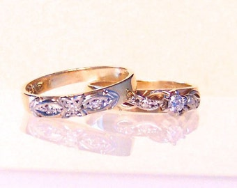 Vintage Diamond Engagement Wedding Ring Set, 9K, Yellow Gold, Pinky Rings
