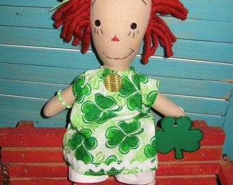 Primitive Red Haired Irish Prim Raggedy Doll with Wooden Shamrock OOAK Handmade