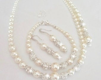 Pearl jewelry set ~ Swarovski pearl and crystal set ~ 3 piece set,Necklace, Bracelet and Earrings set, Wedding jewelry set, FROSTED