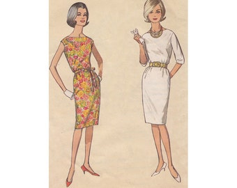 1960s Easy to Sew Sexy Sheath Dress Simplicity 4947 Bateau Neckline Three Quarter Sleeves or Sleeveless Size 12 Bust 32