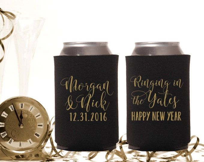 New Years Eve Wedding | Personalized Wedding Can Coolers | NYE Wedding Party Favor | Ringing in 2017 | FREE Standard Shipping