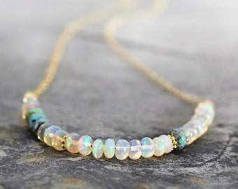 Ethiopain Opal Necklace - Iridescent Gemstone Necklace - October Birthstone Necklace - Fine Jewelry - Gift For Her, Mom, Girlfriend