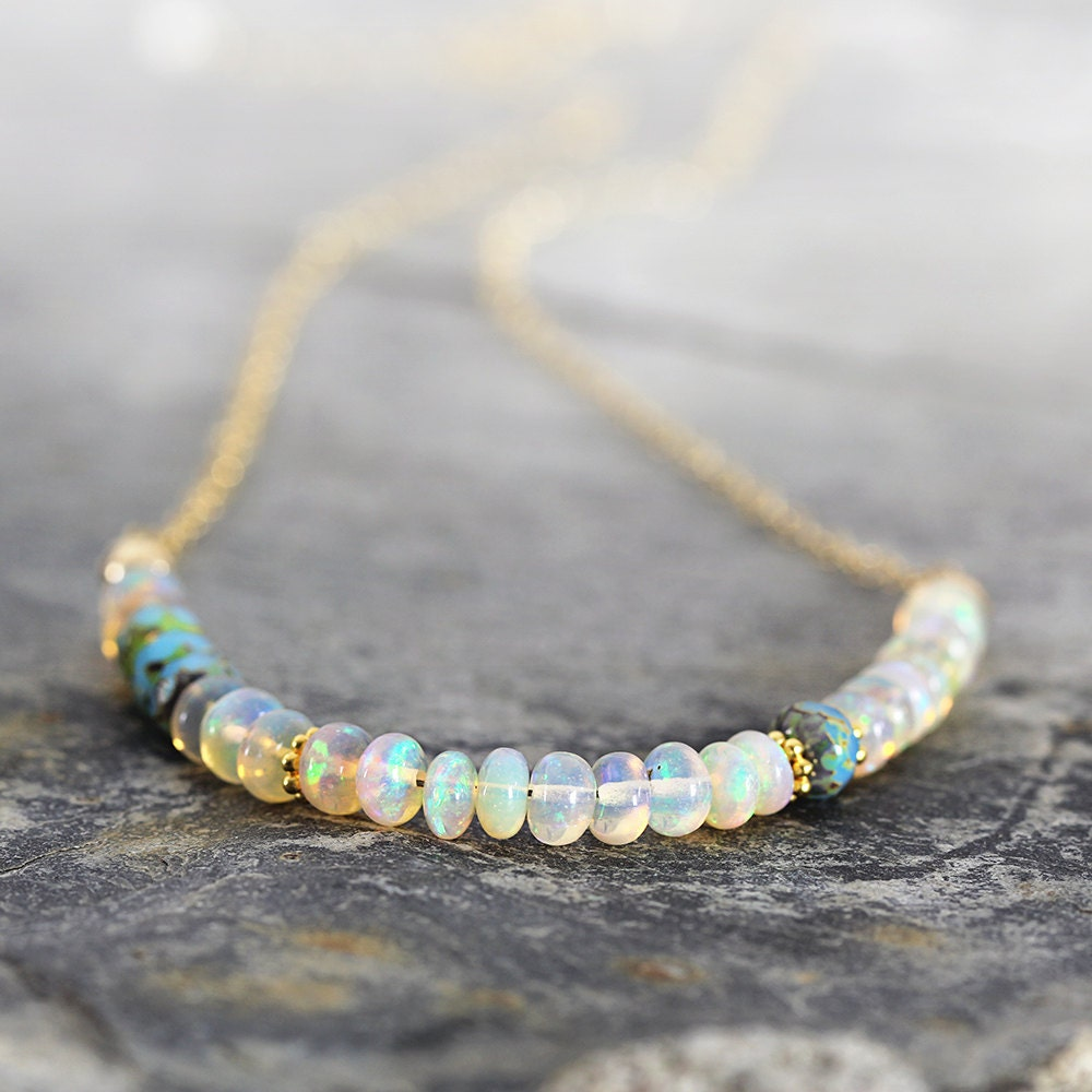 RESERVED for R - Ethiopain Opal Necklace - Iridescent Gemstone Necklace - October Birthstone Necklace - Fine Jewelry