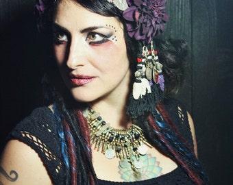 Tribal Fusion Headdress- Plum Dahlia Vintage Silk Sari Trim Turkoman Button Uzbek Tassel Bellydance Headpiece