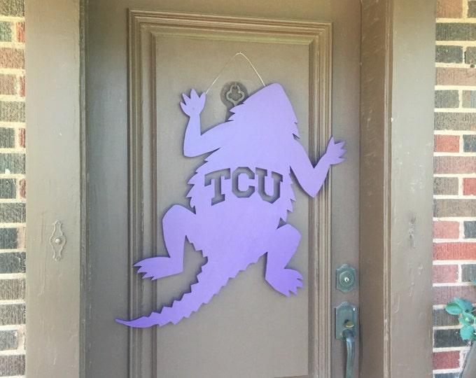 Large Wooden TCU Horned Frog Wall Door Decor