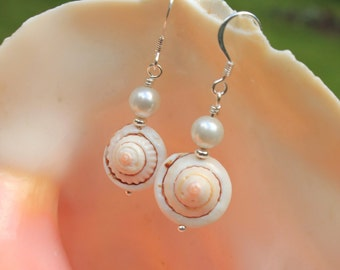 Pink Shell and White Shell Pearl Earrings - Beach Jewelry, Summer Jewelry, Seashell Earrings, Shell Earrings, Pink Earrings
