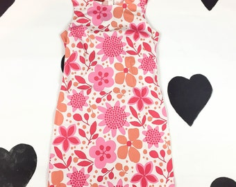 90s Esprit Pink and Orange Floral Mini Dress / Allover Print / Abstract / Club Kid / Clueless / Grunge / y2k / S / M / 7 / 8 / Kawaii /