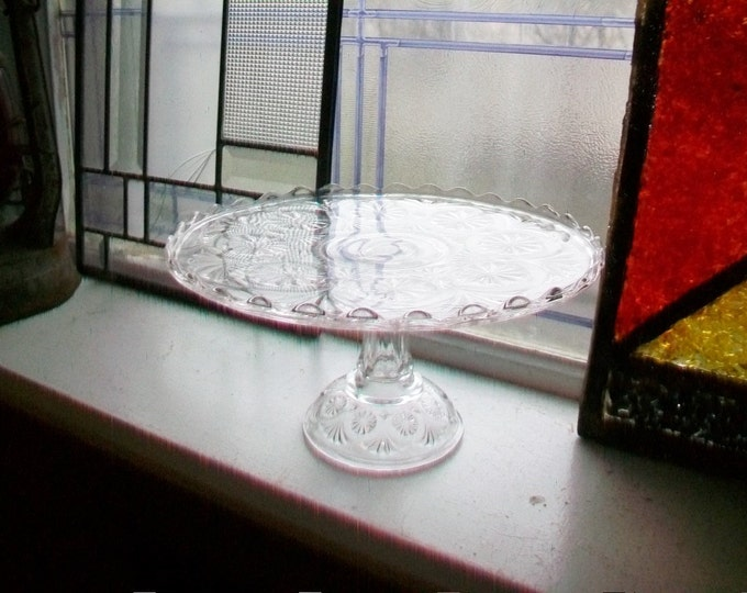 Vintage Glass Cake Stand Pedestal Stand Star and Fan Pattern