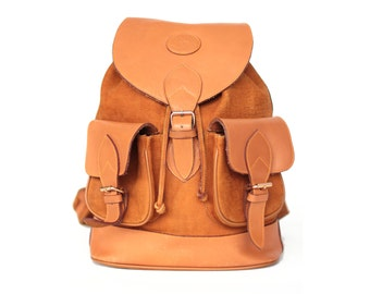 Leather backpack leather rucksack orange leather and suede
