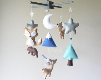 Baby mobile - Indian Mobile - native nursery - Teepee mobile - deer mobile - antlers mobile