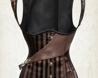 New UnderBust Steampunk corset Striped corset pirate steampunk corset