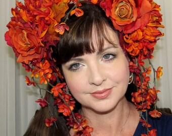 FALL TEMPTRESS Fall Floral Headdress Hair Adornment ooak