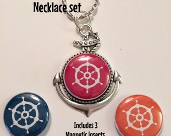 Interchangeable Anchor Magnetic Pendant Necklace, Bracelet or Pin