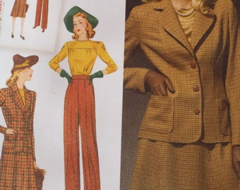 It's the bee's knees - New 1940's Retro Women's blouse skirt pants and jacket pattern Simplicity 3688 UNCUT