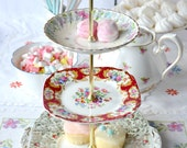 Pretty 3 tier cake stand / dessert / cupcake display: pastel green and gold base plate with rosebuds, Lady Fayre and Minton Printemps china