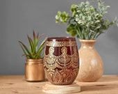 Modern Boho Wedding Decor, Neutral Toned Decor for Centerpieces, Gift for Her, Vintage Wedding Candle Holders, Amber Glass with Gold Henna