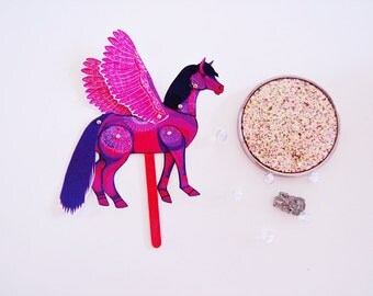 DIY Pink Pegasus Horse Paper Doll / DIGITAL DOWNLOAD / Articulated Doll / Party Supplies