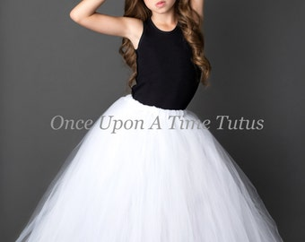 White Long Tutu Skirt - Little Girl Child Size - 12M 2T 3T 4t 5 6 7 8 10 12  Photo Prop - Pure White Wedding Flower Girl Full Length Tulle