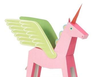 Pink Pegacorn Paper Toy - DIY Paper Craft Kit - 3D Paper Animal
