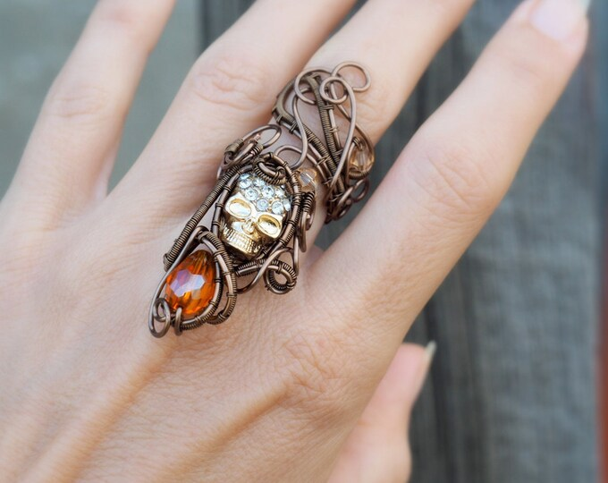 Skull ring ~ Wire wrapped ~ Adjustable