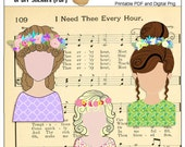 Art Journaling or Bible Journaling Girls with Garlands in their Hair  3 Lovely Ladies: Colors match Bible Journal Kits