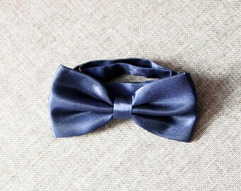 Designer Clearance Men Navy Blue Bow Tie Bowtie - Pre-tied Double Bow Tie