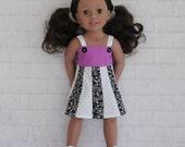 Totally Summer Panel Dress Purple White & Black- Dolls Clothes for Australian Girl dolls