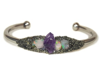 CRYSTAL CUFF BRACELET // Raw Amethyst ~ Ethiopian Welo Opal ~ Crushed Pyrite Dust ~ Gifts For Her ~ Bridesmaid Gift ~ Quartz Stone Bangle