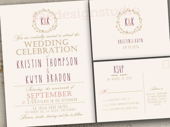 Sangria Wedding Invitations: Wedding Invitations Invites RSVP Cards Rustic By