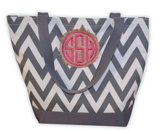 Monogram Chevron Tote Bag, Burlap Chevron Bag, Burlap Tote, Monogrammed Tote Bag, Personalized Chevron Canvas Tote Bag, Several Tote Colors!