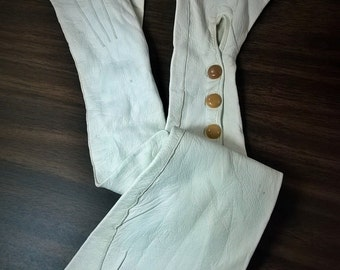 Vintage FRENCH Soft White Long Gloves - Kid Leather with ART DECO Snaps - Opera Gloves Size 5