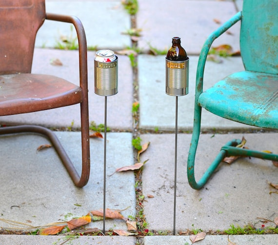 2 Hobo Tin Can Beer Holders/ Garden Drink Holders