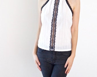 White Halter Top with Black Lace Trim
