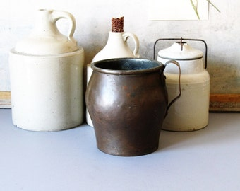Antique copper pitcher, copper jug, pot, farmhouse, rustic home decor