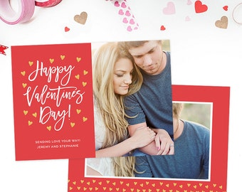 Valentine's Day Card Template, Valentine's Day Card for Photoshop, Holiday Card Templates, Photography Templates VD123