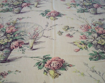GORGEOUS 50's FLORA BARKCLOTH Tablecloth Textile Cottage Fabric Curtains Floral Pillows Valance