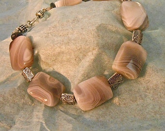 Botswana Agate Tibetan Silver Etched Beads Bracelet Beautiful Striations Gray White Light Brown Unique  Gift OOAK