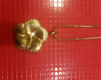 Gold Floral Medallion Necklace with Long Gold Chain