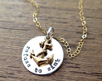 Refuse to Sink, Gift for Wife 2018, I Refuse to Sink, Gift for Navy Girlfriend, Navy Girlfriend Gift, Anchor Gold Necklace, Memorial Gift
