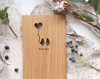 Penguin Love Wood Card [Love / Boyfriend / Five Year, Fifth, 5th Anniversary / Custom Anniversary Card / Valentine Card]