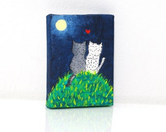 Small canvas painting Small canvas art Love painting Acrylic canvas tiny paintings Small painting for kids art Quadri piccoli