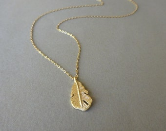 Delicate Gold Necklace, Dainty Gold Necklace Gold Feather Necklace Jewelry Gift Simple Gold Necklace Long Gold Necklace Jewelry Gift For Her