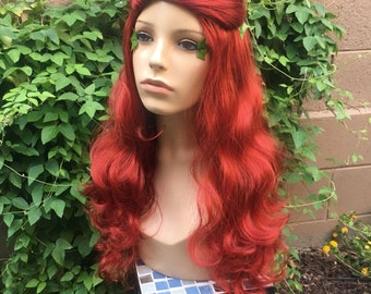 Poison Ivy Batman Red Curly Villain Wig Cosplay Costume